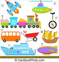 cartas, alfabeto, vehículos, coche, r-z, transporte
