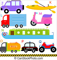 cartas, alfabeto, vehículos, j-q, coche, transporte