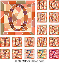 cartas, alphabet., mosaico, capital