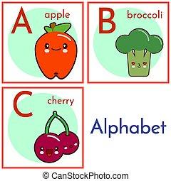 cartas, c., alimento, alfabeto, aislado, ilustración, fondo., caracteres, vector, blanco, caricatura