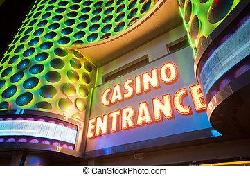 cartas, casino, entrada, neón, rojo, grande
