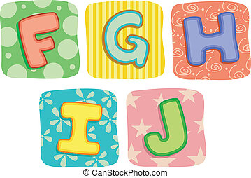 cartas, colcha, g, f, alfabeto, j, h