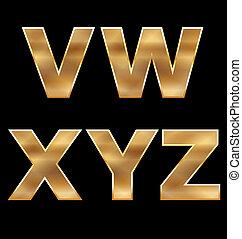 cartas, conjunto, v-z, oro