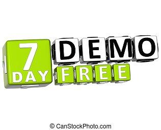 cartas, conseguir, demo, libre, 7, día, bloque, 3d