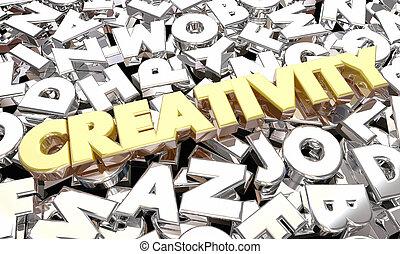 cartas, creatividad, ideas, ilustración, imaginación, palabra, 3d