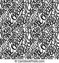 cartas, creatividad, patrón, mano, calma, dibujado, doodles...