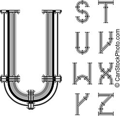 cartas, cromo, alfabeto, tubo, 3, vector, parte