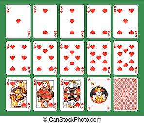 cartas de jogar, corações, paleto
