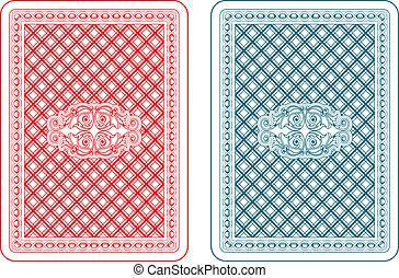 cartas de jogar, costas, zeta