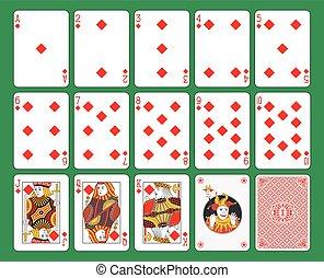 cartas de jogar, diamantes, paleto
