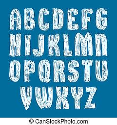 cartas, elegante, alfabeto, escrito, mano, s, vector, fuente...