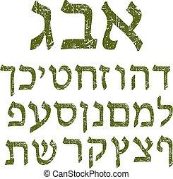 cartas, font., idioma, alphabet., andrajoso, verde, hebreo, ...