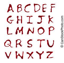 cartas, goteo, a-z, sangre, plano de fondo, blanco