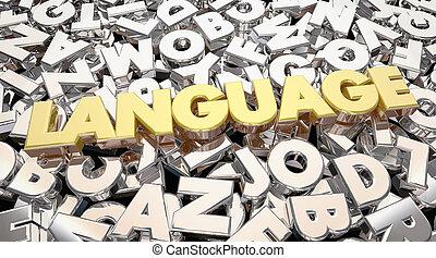 cartas, idioma, comunicación, acción, ideas, animación, palabra, 3d