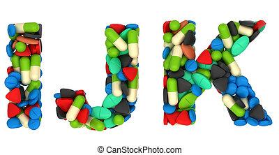 cartas, k, j, píldoras, fuente, médico