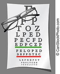 cartas olho, e, óculos