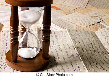 cartas, viejo, reloj de arena