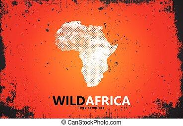 cartaz, áfrica, desenho, selvagem, logo., design.