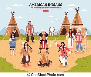 cartaz, índios americanos