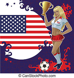 cartaz, americano, futebol, menina
