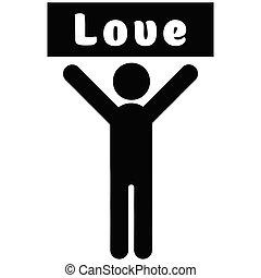 cartaz, amor, homem