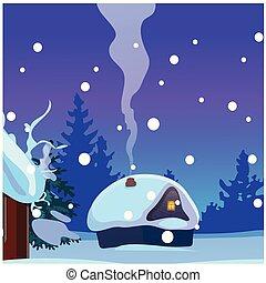 cartaz, amostra, close-up., inverno, caça, glowing, rústico, janela, alojamento, partido, feriado, cozy, festivo, cartaz, caricatura, chaminé, card., convite, evening., vetorial, fumaça, pequeno