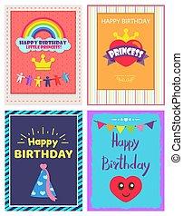 cartaz, aniversário, vetorial, ilustração, princesa, feliz