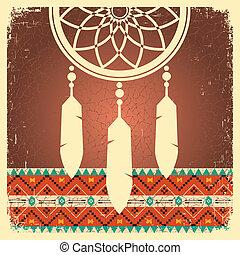 cartaz, apanhador, ornamento, sonho, étnico
