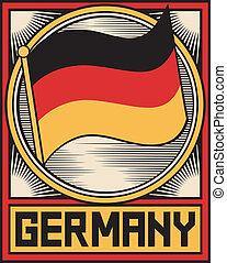 cartaz, bandeira, alemanha