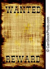 cartaz, bandido, querido, em branco