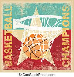 cartaz, basquetebol, campeão