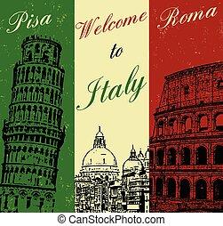 cartaz, bem-vindo, itália, vindima