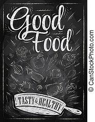 cartaz, boa comida, giz