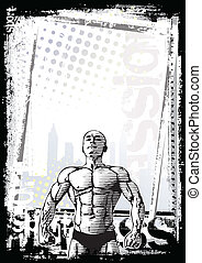 cartaz, bodybuilder, 2
