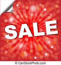 cartaz, bokeh, venda, vermelho