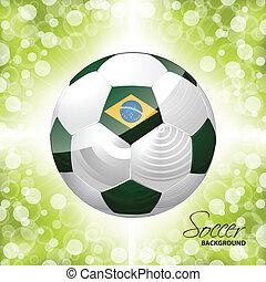 cartaz, bola futebol, experiência verde