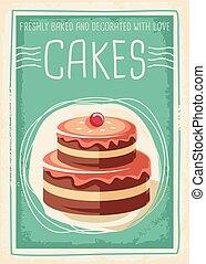 cartaz, bolos, desenho, retro, doces