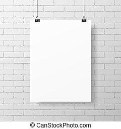 cartaz, branca, em branco