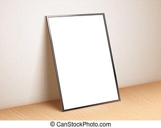 cartaz, branca, modelo, em branco
