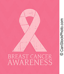 cartaz, câncer, consciência peito