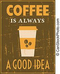 cartaz, café, retro