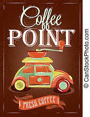 cartaz, café, retro, ponto