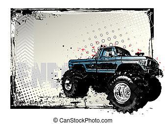 cartaz, caminhão, monstro