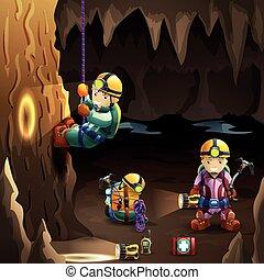 cartaz, caverna, fundo, speleologists, 3d