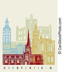 cartaz, chesterfield, skyline, reino unido