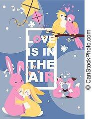 cartaz, com, cute, animais, apaixonadas, caricatura,...