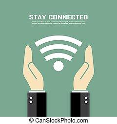 cartaz, conectado, ficar