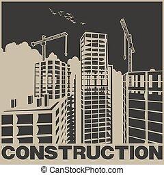 cartaz, construção, arranha-céus
