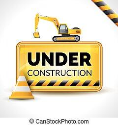 cartaz, construção, sob