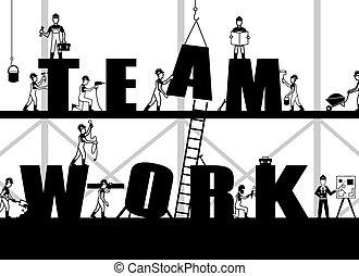 cartaz, construção, trabalho equipe